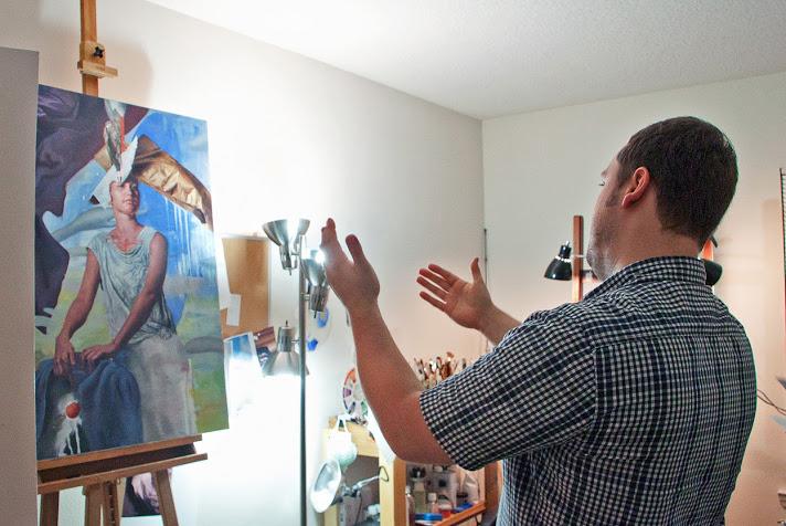 "(In his studio, John explains the impetus behind his work-in-progress, ""Fierce."")"