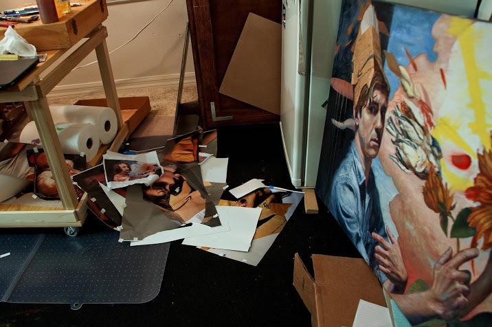 (A work in progress and materials in John's studio.)