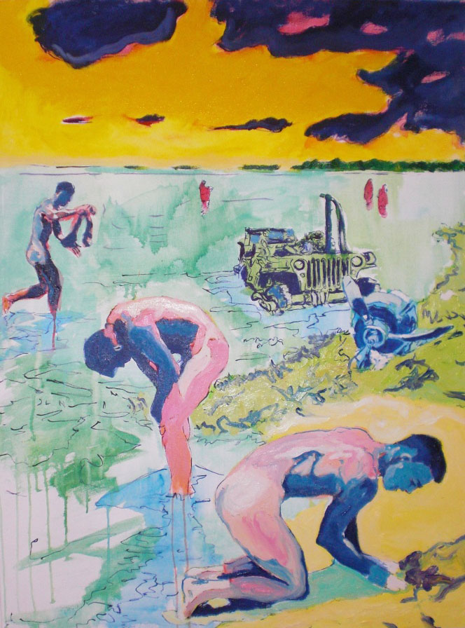 "(""Doxology (The Bathers),""48×36 inches, oil and acrylic on canvas)"