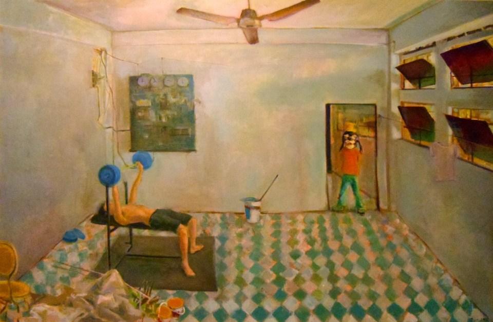 """[""""Goofy"""" by Dat Nguyen; 4 x 6 feet; oil on canvas.]"""