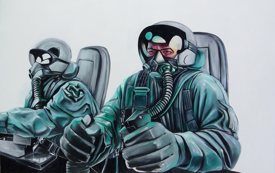[Untitled by Philip Cozma; 4 x 6 feet; oil on canvas.]