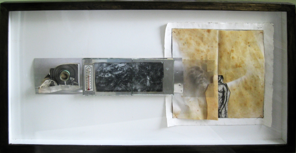 """[Ryan Strasser's """"Fixation Fluctuation,"""" 38"""" x 20"""" x  2""""; mixed media  (found objects, photo collage, copper dry point etching, and silver gel print.)]"""