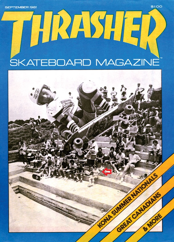 [At the feet of a master: A young Chip Southworth checks out Steve Caballero's skate movies at Kona Skate Park, circa 1981. Cover courtesy of Thrasher Magazine.]