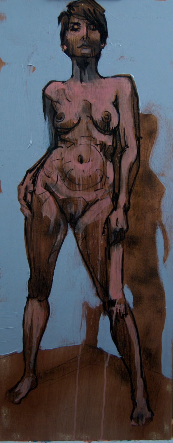 "[""Standing Ashley,"" mixed media on panel, 12 x 30]"