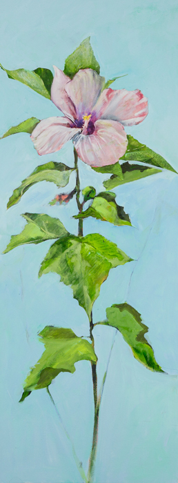 "[""Wild Hibiscus,"" oil on canvas, 48 x 18, photographed by Doug Eng.]"