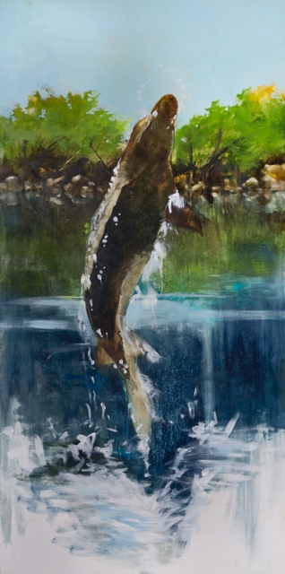 "[""Gulf Sturgeon,"" 72 x 36, oil on canvas. Photographed by Doug Eng.]"