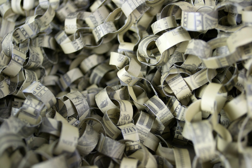 "[ Detail from Jolene DuBray's ""ALCHEMY: Dissection, Reconstruction, Installation,"" an installation of chained money, 2013."