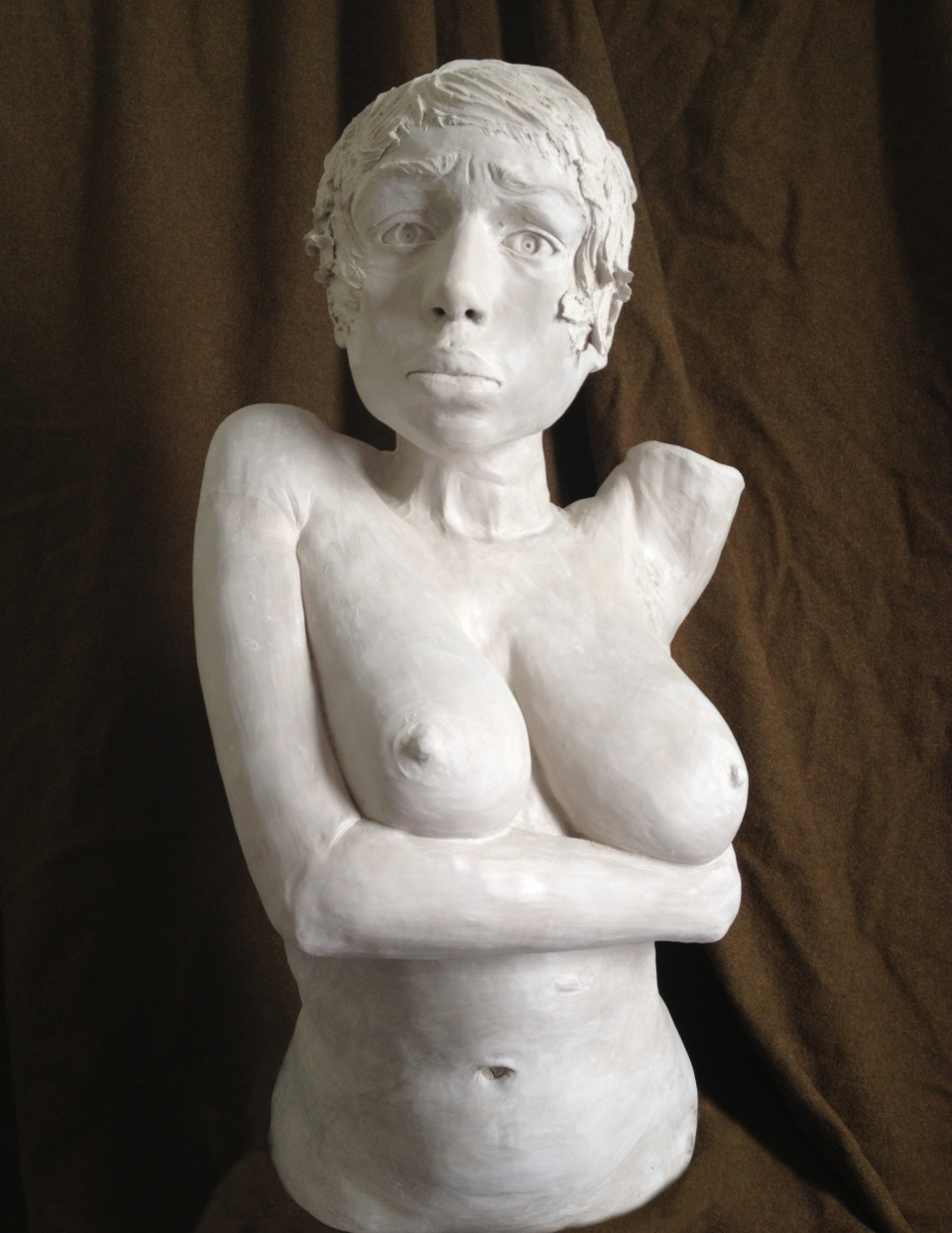 "[A self-portrait bust from Maya de Ceano-Vivas' ""Question"" and ""Answer"" sculptures, clay, 2013]"