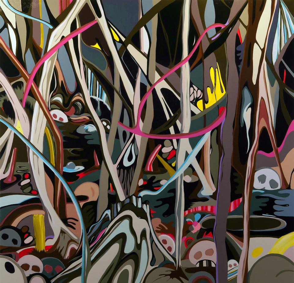 """[""""Flood Remains,"""" 56 x 58, acrylic on canvas.]"""