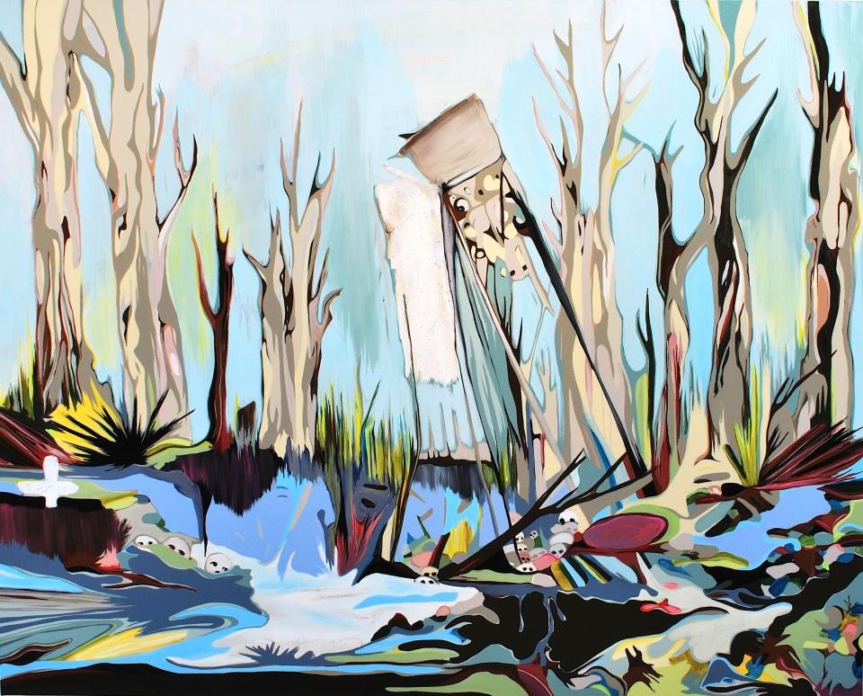 "[""The Overlook,"" 48 x 60, acrylic and rhinestones on canvas]"