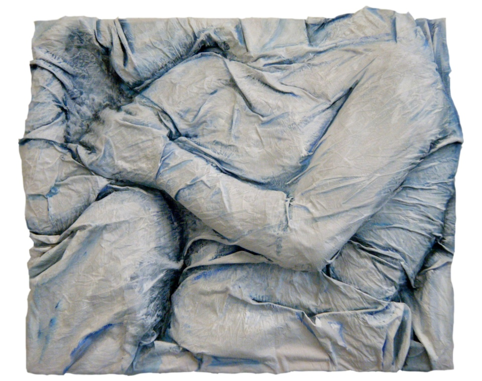 "(Alex Gotay, ""Wrapped 11: Embrace,"" 22 x 26, acrylic on a three dimensional muslin casting.)"