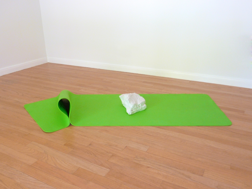 "[""The Vow,""yoga mat, full bottle of Elizabeth Taylor's Forever embedded in plaster.]"