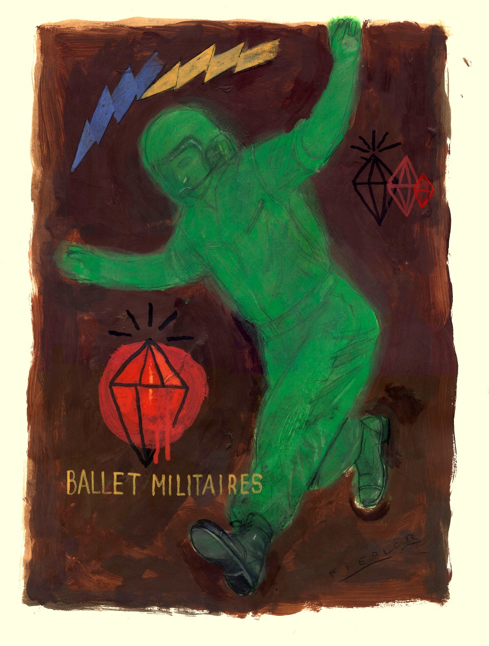 "[Joseph Daniel Fieldler's ""Ballet Militaires,"" acrylic and pencil on Stonehenge paper, 27 X 35.5.]"