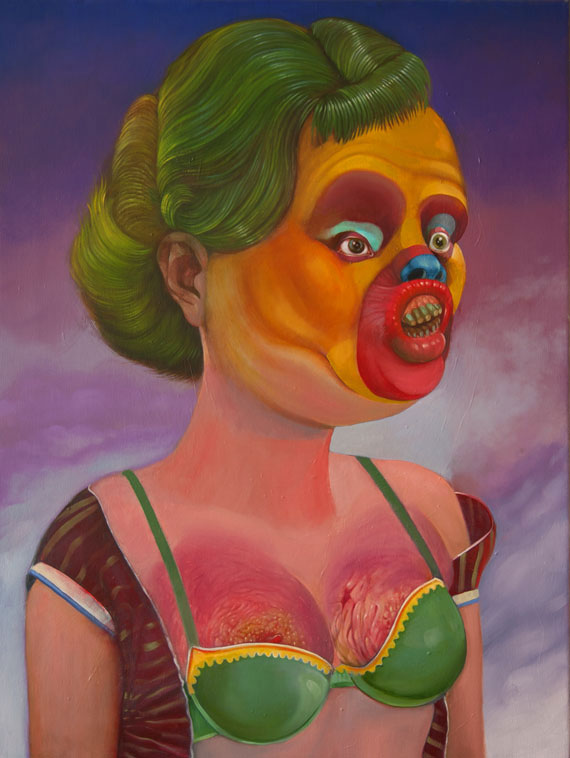 "[Gregory Jacobsen's ""I'm Mandy! Fly Me!"" oil on canvas, 24"" x 20""; 2012.]"