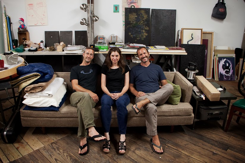 [Left to right: Mark, Shannon, and Phillip Estlund in the Artist-in-Residency studio at CoRK.]