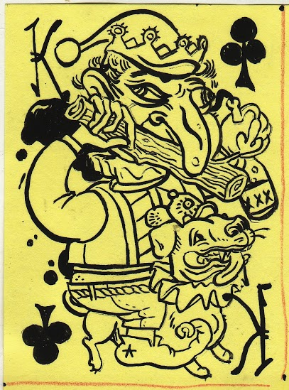 "Russell Maycumber's ""kclub,"" ink on Post-it Note; year unknown."