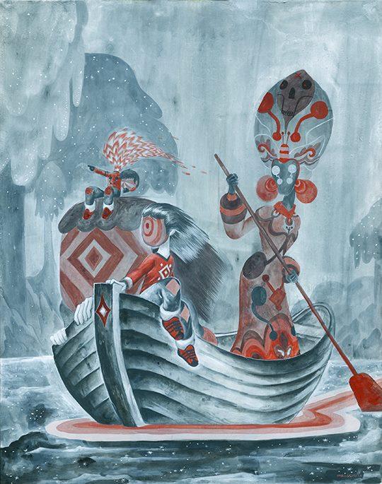 "[Charles Glaubitz's ""Voyagers/Viajeros,"" acrylic on canvas, 24"" x 30,"" 2013.]"