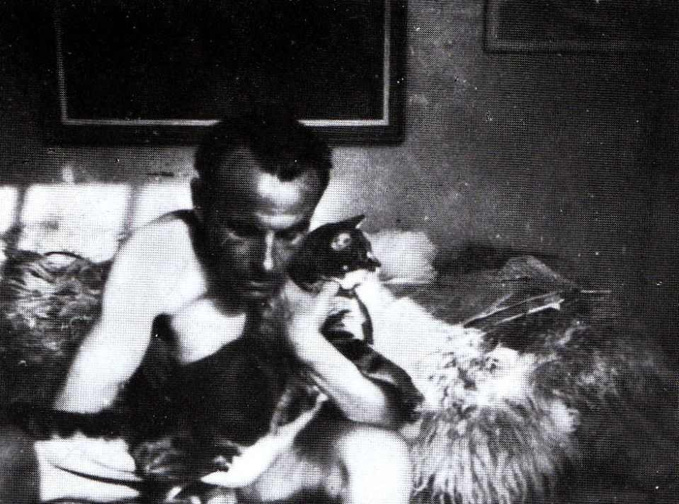 Louis-Ferdinand Céline (1894-1961) and his cat Bébert in Copenhagen, 1945. If Richard Brautigan had softened my heart,  the novels Céline helped hone it into a weapon.