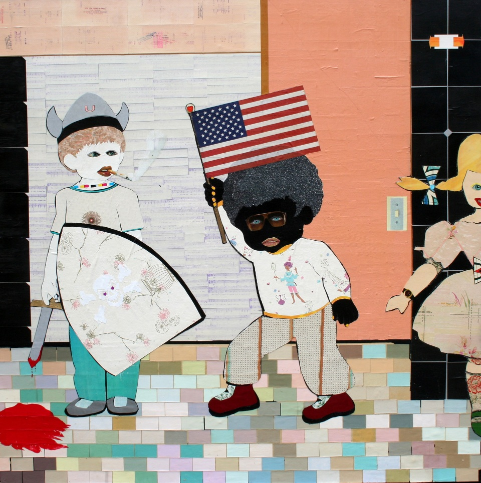 "[""Justice, Liberty, and Equality,"" mixed media, 54"" x 54""; 2008.]"
