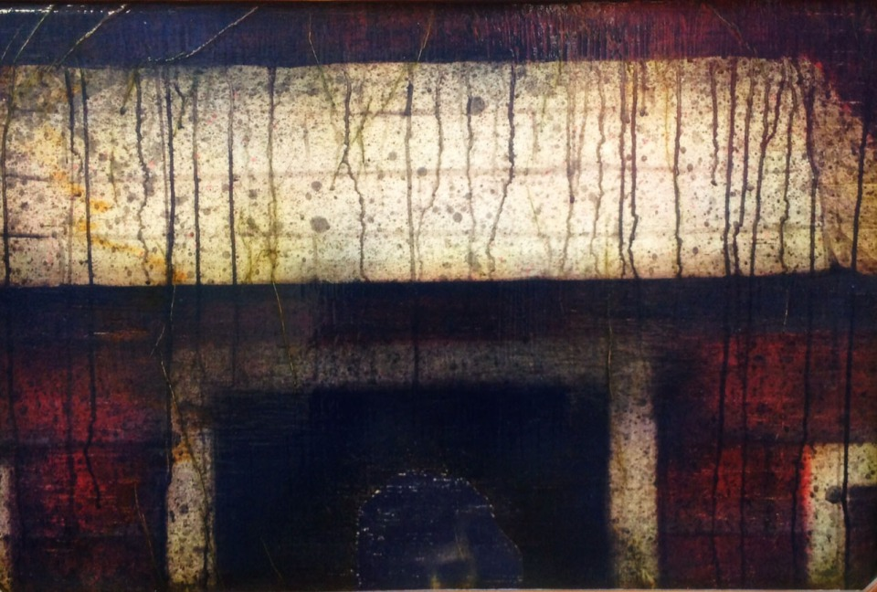 """[""""Dark,"""" mixed media (acrylic, ink, wallpaper paste, butcher paper, stain, and lacquer on wood), 22 x 34; 2013.]"""