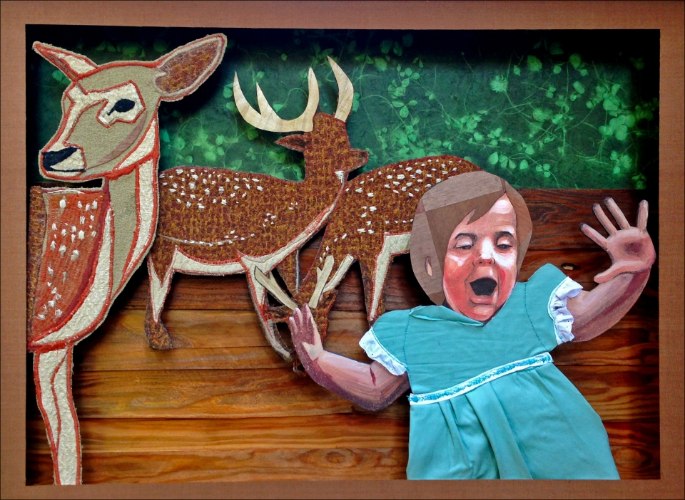 "[""Fuck! A Deer!""; wood, fabric, acrylic, vinyl, paper, thread/embroidery (machine and hand stitched) framed in cypress wood, 21 x 27; 2013.]"