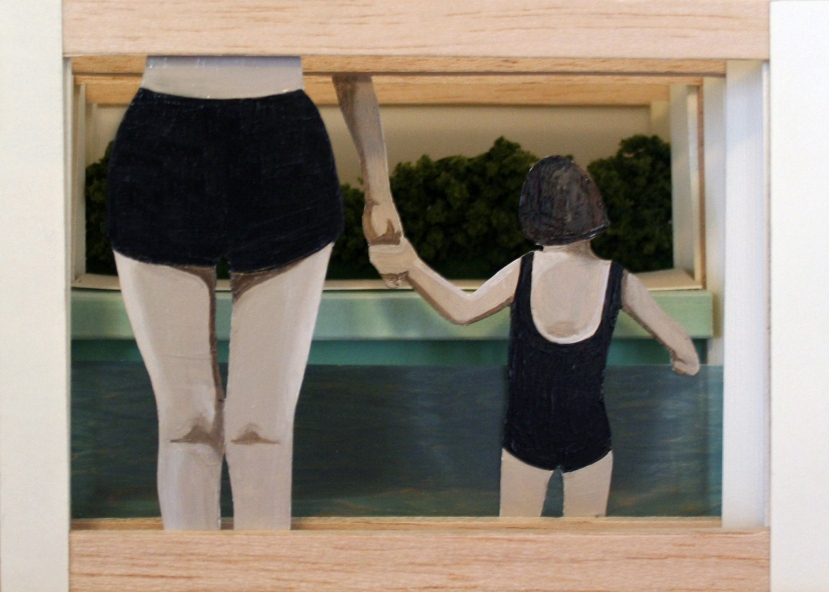 "[""Bathers,"" mixed media, 7 x 5 x 4; 2013.]"