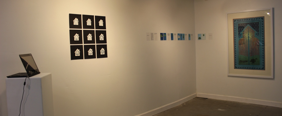 [Installation shot of Nida Bangesh's work at Clay and Canvas Studios.]