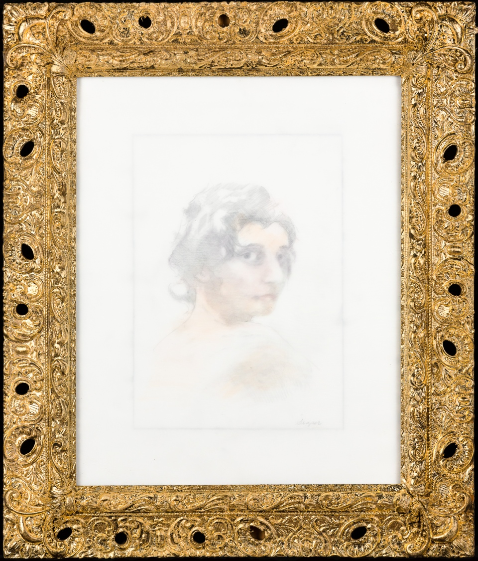 "[""Vermeer, Vermeer,"" colored pencil, graphite, found frame, gold leaf, and vellum, 27 X 23; 2013.]"