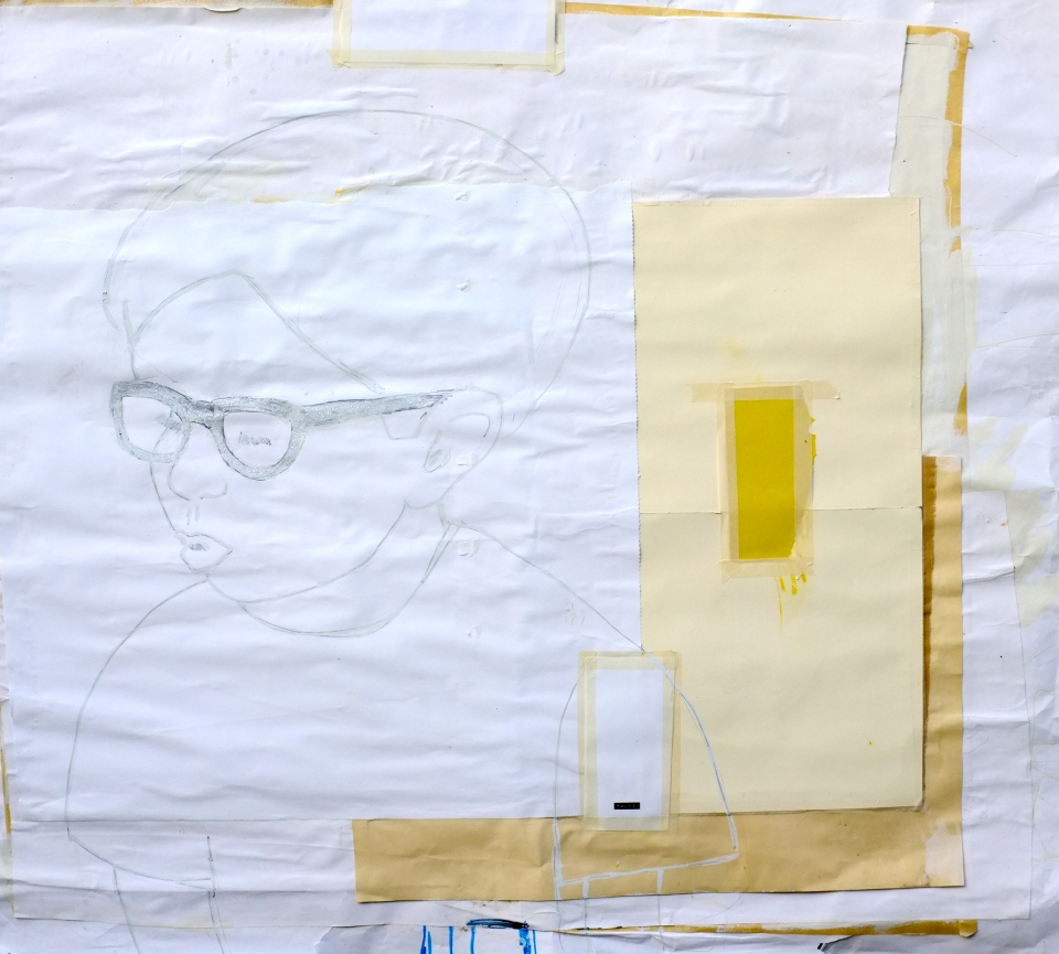 """[""""Little Boy,"""" marker, white out, pencil, and glitter on paper and oil on panel, 46 x 46; 2013.]"""