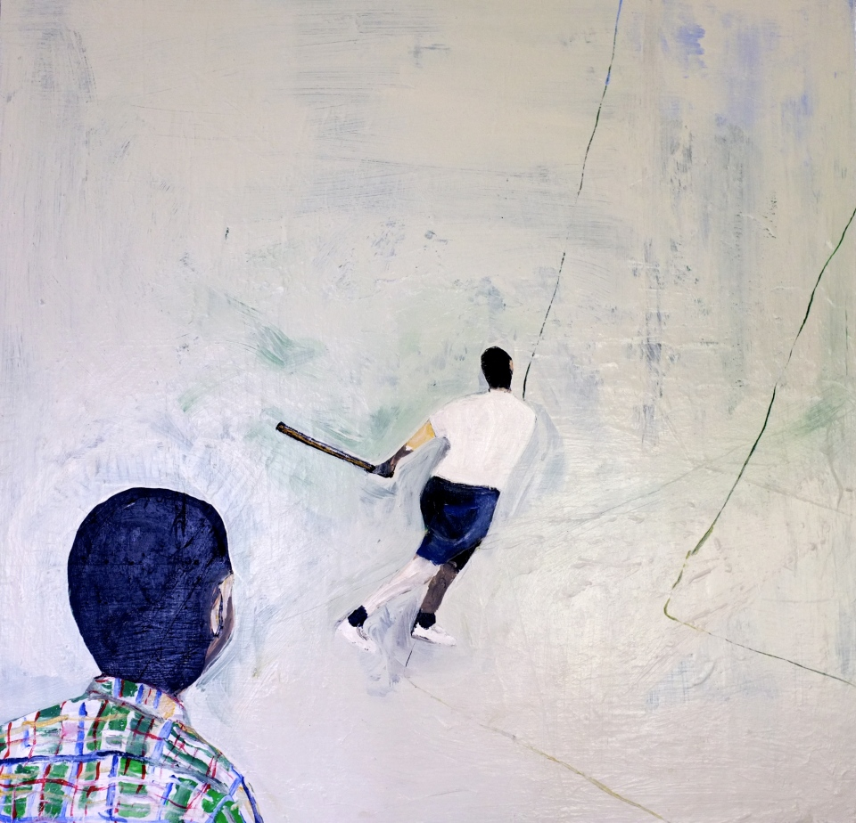"[""National Pastime,"" marker, white out, pencil, and glitter on paper and oil on panel, 24 x 24; 2013.]"