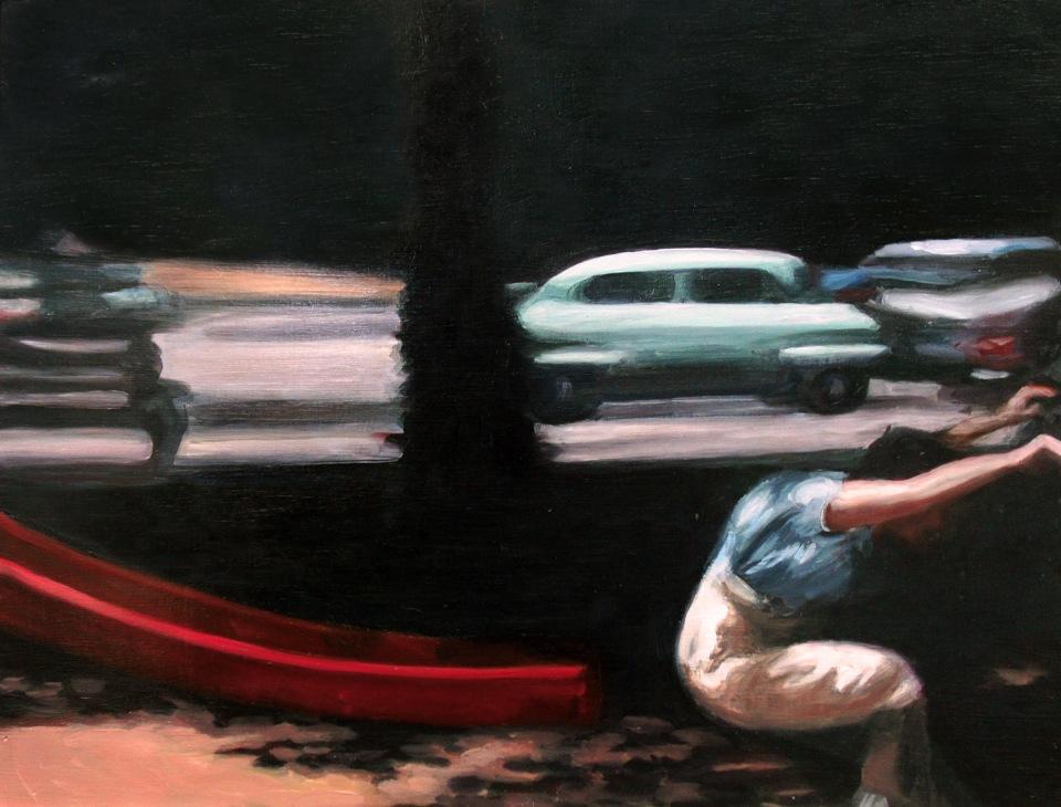 "[""Rush,"" oil on wood panel, 18 x 24; 2013.]"