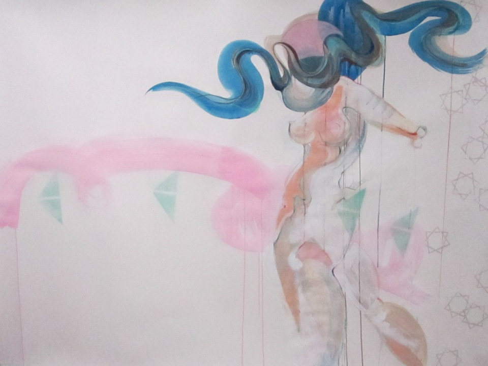"[""Imagining Relativity {idealized deviation 1}""; pencil on paper with flashe paint, watercolor, and spray paint, 44 x 61; 2013.]"