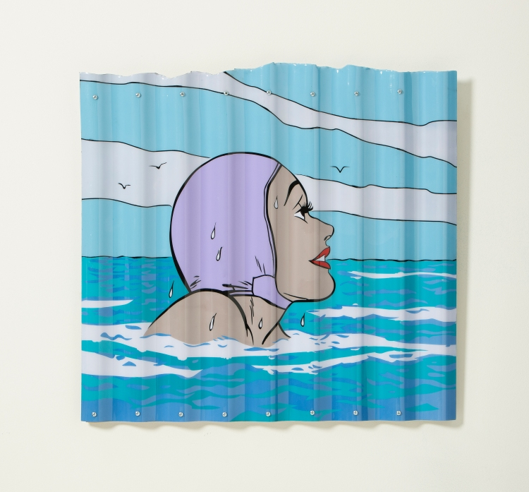 "[""Bobbing,"" acrylic and aerosol on corrugated plastic, 24 x 26; 2013.]]"