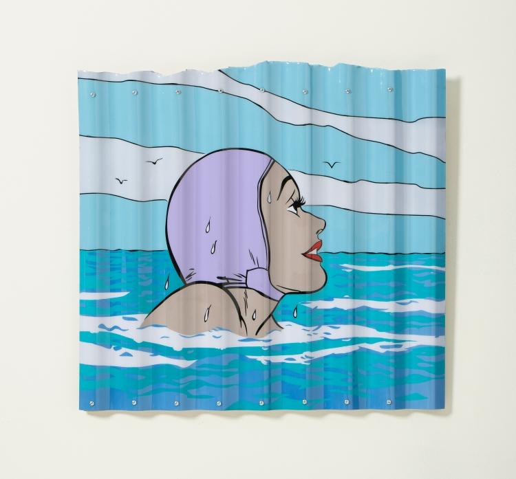 """[""""Bobbing,"""" acrylic and aerosol on corrugated plastic, 24 x 26; 2013.]]"""