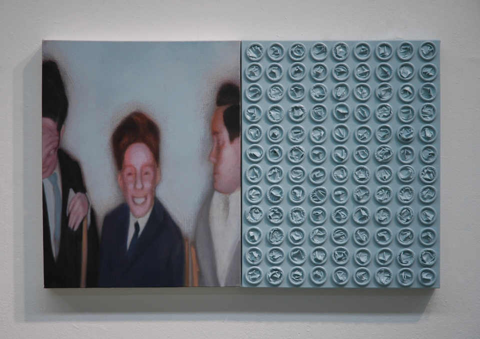 """[""""My Coming of Age: Boys,"""" acrylic and latex on canvas, 20 x 32 (two canvases at 16 x20 each); 2013.]"""
