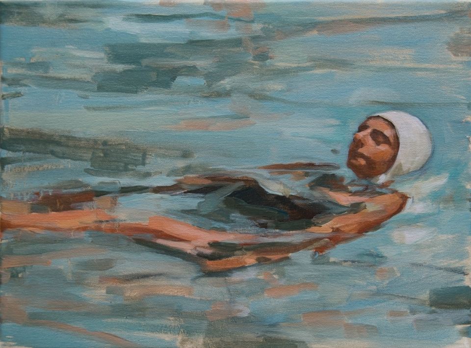 "[""Swimmer,"" oil on canvas, 12 x 16; 2013.]"
