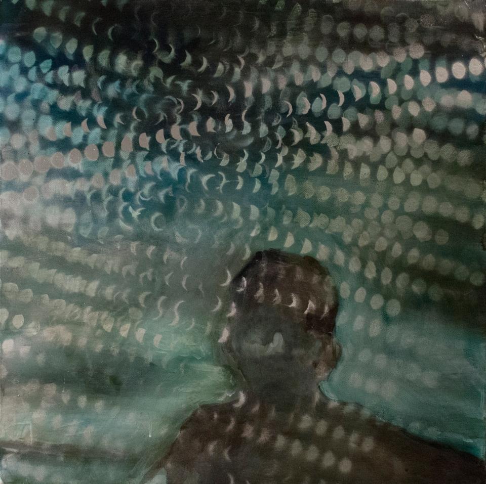 "[""Distance I,"" mixed media on canvas, 24 x 24; 2013.]"