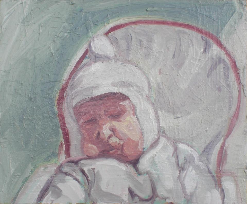 "[""Reticent Slumber (an Effigy),"" oil on three panels, 29 x 32; 2013.]"