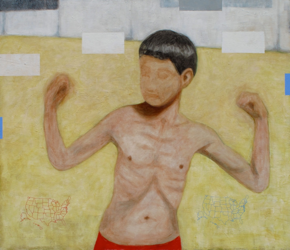 "[""Playground Virility,"" acrylic and polycrylic varnish on canvas, 36 x 42; 2013.]"