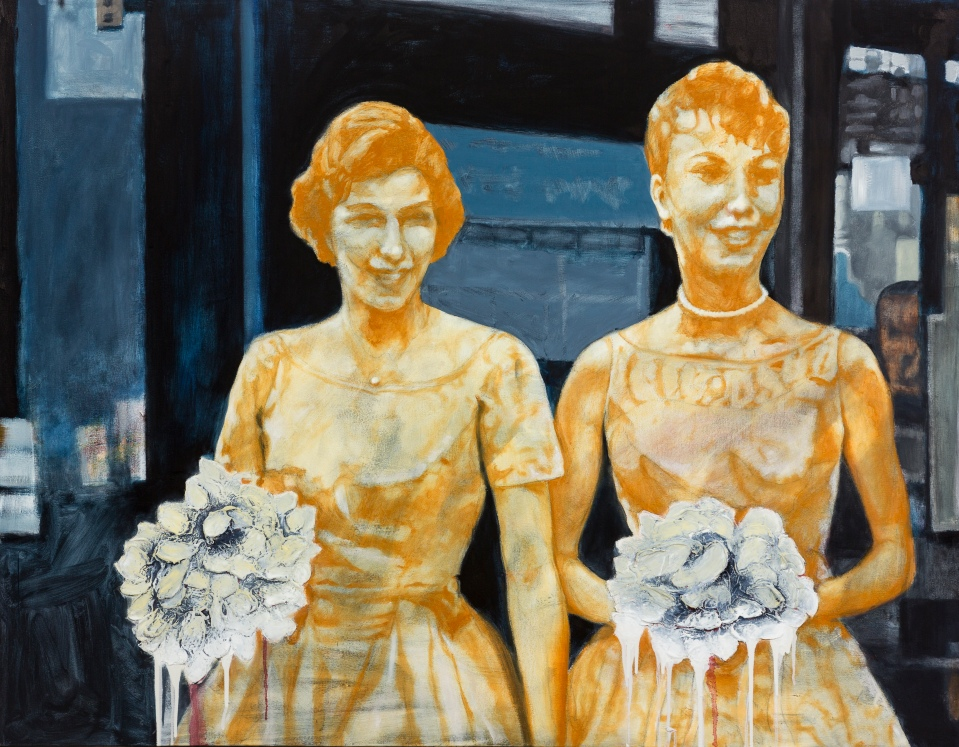 "[""Bridesmaids and Bouquets,"" oil and mixed media on canvas, 42 x 54; 2013.]"