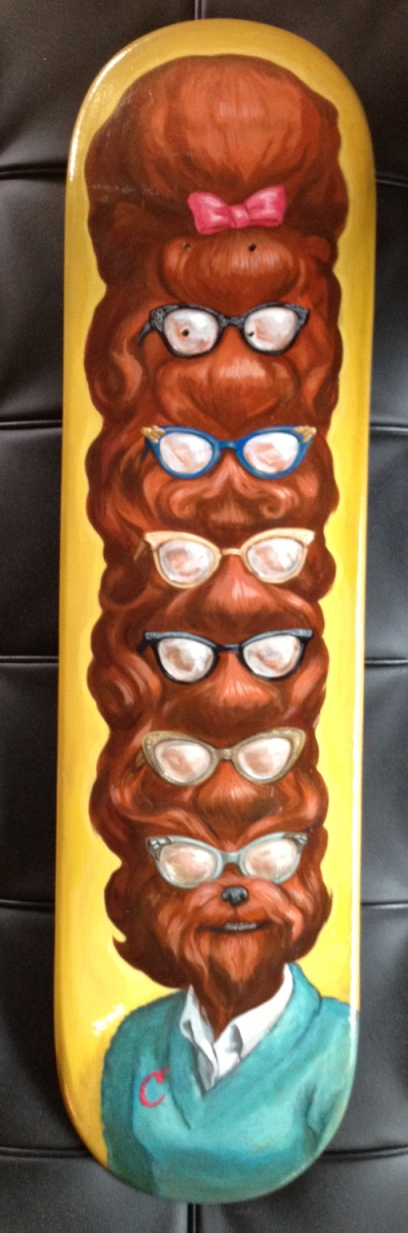 """Best Hair Class of '62: acrylic on skateboard, 2012. Ryan Hurley bought this for his daughter and called it 'that Berenstain Bear thing,' which I love. I have since given his daughter a tiny, rainbow drum kit."""